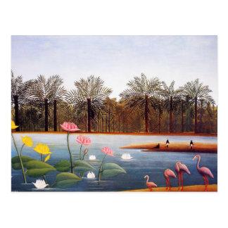 Carte postale de flamants de Henri Rousseau