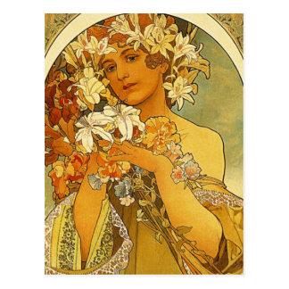 Carte postale de fleur de Nouveau Alphonse Mucha