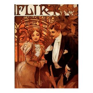 Carte postale de flirt d'Alphonse Mucha