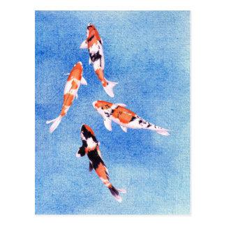 Carte postale de flottement de bleu de Koi