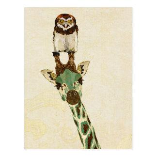 Carte postale de GIRAFE et de PETIT HIBOU