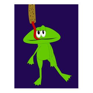 Carte postale de grenouille et d'attrape-mouches