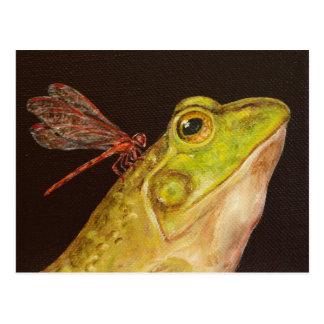Carte postale de grenouille et de libellule