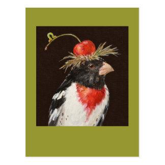 carte postale de gros-bec de rose-breasted