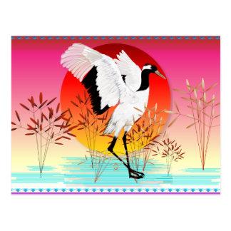 Carte postale de grue couronnée par rouge et de