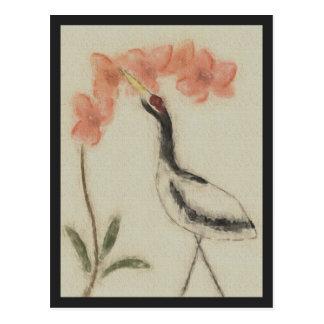 Carte postale de grue et d'orchidée