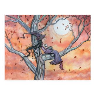 Carte postale de Halloween de chat de sorcière par