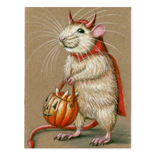 Carte postale de Halloween de diable de rat