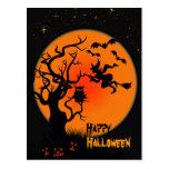 Carte postale de Halloween de sorcière et de hibou