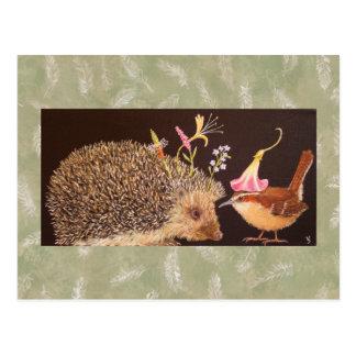 Carte postale de hérisson et de roitelet de