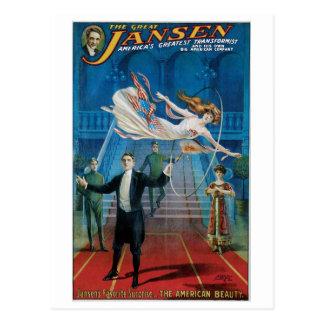 Carte Postale ~ de Jansen le grand acte magique vintage
