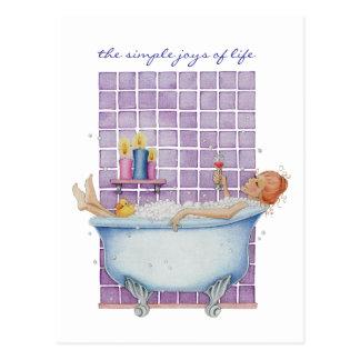 Carte postale de joie de baignoire