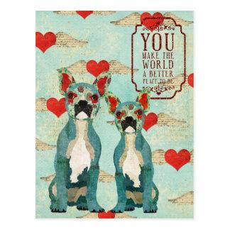 Carte postale de jour de Valentines de coeur de bo