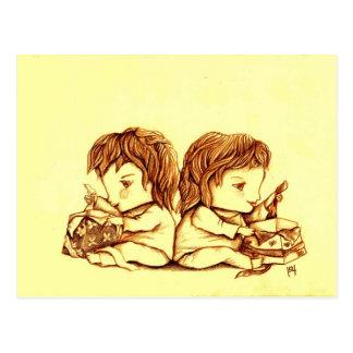 Carte postale de l anniversaire des jumeaux par L