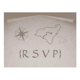 Carte postale de la carte RSVP de trésor, beige