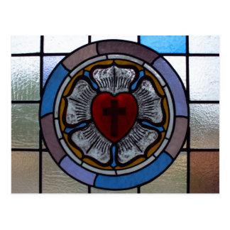 Carte postale de la fenêtre rose de Luther -
