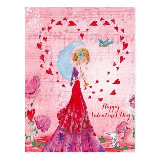 Carte postale de la fille | de musique d'amour de