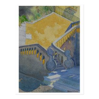 Carte postale de la peinture d'aquarelle, escalier