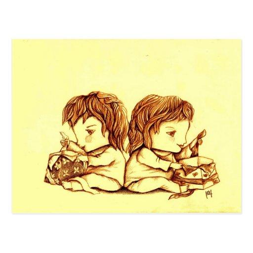 Carte postale de l'anniversaire des jumeaux, par L