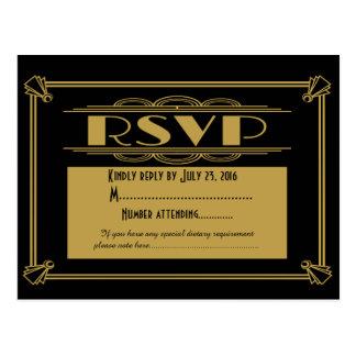 Carte postale de l'art déco RSVP des années 20