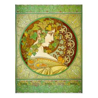 Carte postale de laurier d'Alphonse Mucha