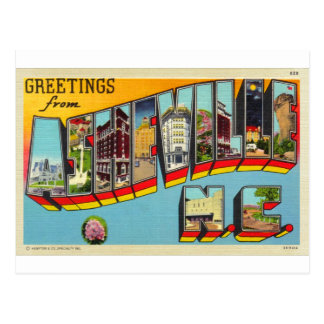 Carte postale de lettre d'Asheville de rétro