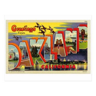 Carte postale de lettre d'Oakland de rétro kitsch