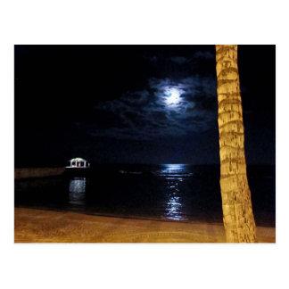Carte postale de lever de la lune de Waikiki