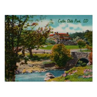 Carte postale de loge de jeu de parc d'état de