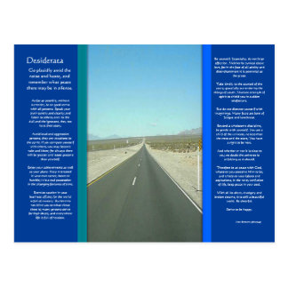 Carte postale de longue route de DESIDERATA