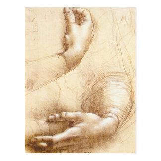 Carte postale de mains de da Vinci