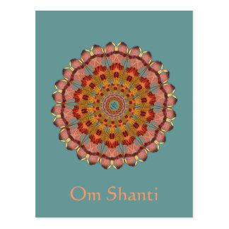 Carte postale de mandala de l'OM Shanti d'aile de