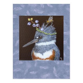 carte postale de martin-pêcheur (myrtilles du