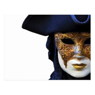 Carte postale de masque de théâtre de carnaval de