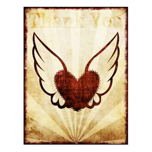 Carte postale de Merci de coeur à ailes par tatoua