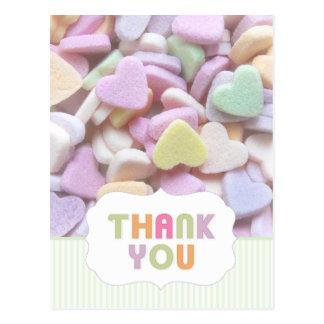 Carte postale de Merci de coeurs de sucrerie
