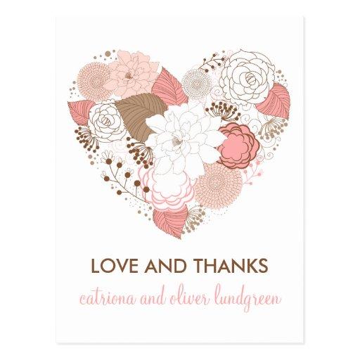 Carte postale de Merci de fleurs de rose et de coe