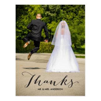 Carte postale de Merci de mariage de photo de la