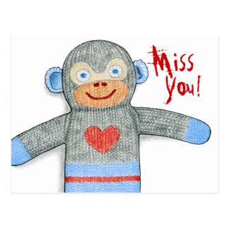 """Carte postale de """"Mlle You"""" de singe de chaussette"""