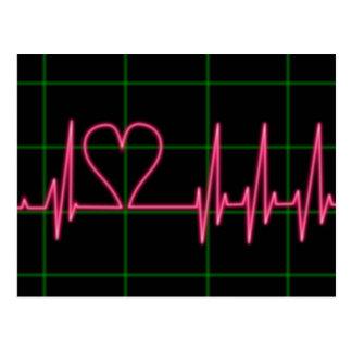 Carte postale de moniteur de coeur