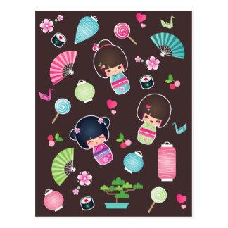 Carte postale de motif de Kokeshi