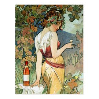 Carte postale de Mucha :  Cognac - art Nouveau
