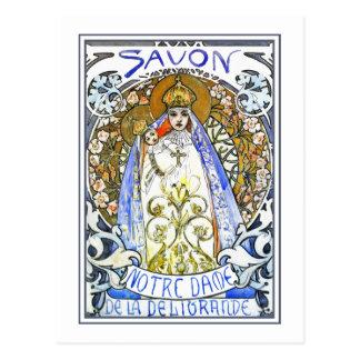 "Carte postale de Mucha :  ""Savon Notre-Dame"