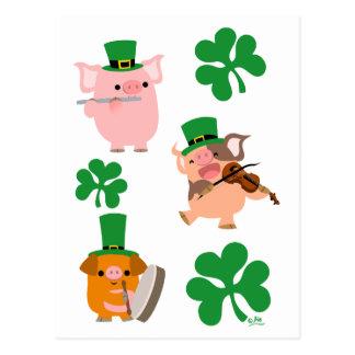 Carte postale de musiciens du jour de St Patrick p