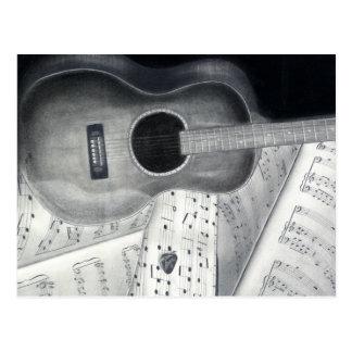 Carte postale de musique de guitare et de feuille