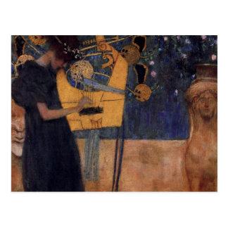 Carte postale de musique d'harpe de Gustav Kllimt