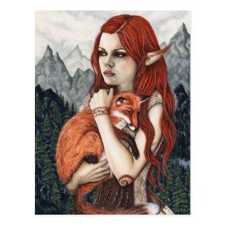 Carte postale de nature d'art d'imaginaire de Fox