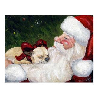 Carte postale de Noël d art de chien de chiwawa e