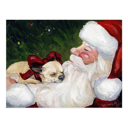 """Carte postale de Noël d'art de chien de """"chiwawa e"""