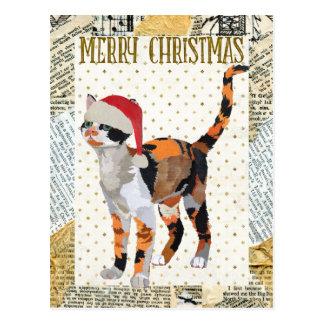 Carte postale de NOËL de CAT de CALICOT